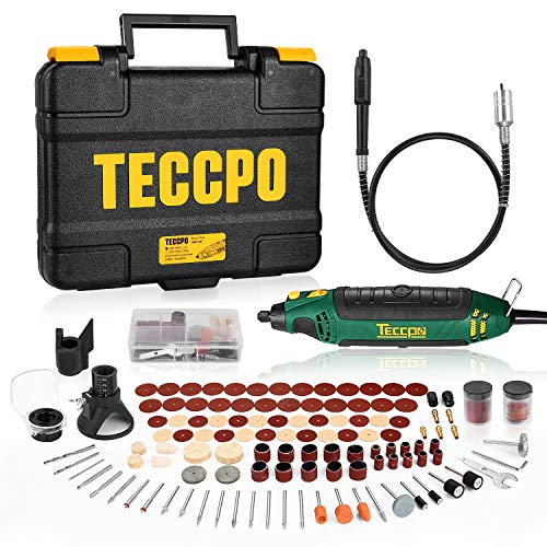 Rotary Tool TECCPO Professional 135W, 10000-35000RPM,6 Variable Speed with Flex shaft,Sharpening Guide,Cutting Guide,Auxiliary Handle,114 Accessories Ideal for Crafting Project and DIY