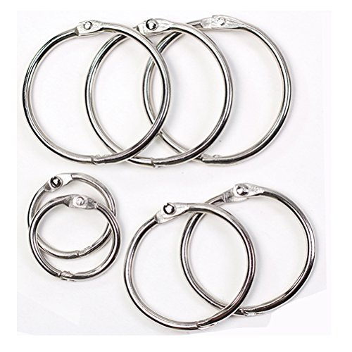 Round Loose Leaf Binder Rings Metal Book Rings Paper Notebook Album Photo Rings Curtain Hooks Rings Clips Keychains Keyrings for School,Home,or Office 0.75 Inch,Silver,10 Pieces by -