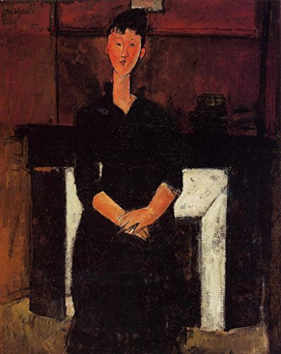 Modigliani Amedeo Woman Seated in Front of a Fireplace 100% Hand Painted Replica Oil Paintings 12X16 Inch by B-Arts