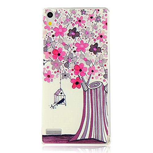 MOLLYCOOCLE Fashion Style Transparent Painted PC Phone Back Cover with Bird Cage and Blossoming Tree Pattern for Huawei P6