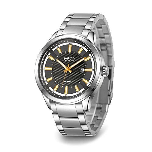 ESQ Men's Dress Analog-Quartz Watch with Stainless-Steel Strap, Silver, 22 (Model: 37ESQE17101A)