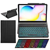 Samsung Galaxy Tab S6 Lite Case with Keyboard Backlights Ultra Thin PU Leather Slim Folio Stand Cover Removable Wireless Bluetooth Backlit Keyboard Case for Galaxy Tab S6-Lite P610 P615 (Black)