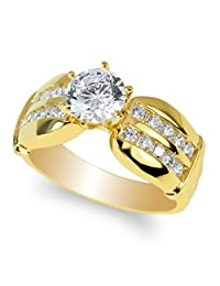JamesJenny Ladies Yellow Gold Plated 1 carat Round CZ Unique Solitaire Ring Size 4-10