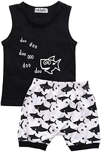 Oklady Baby Boy Girl T-Shirt Clothes Shark and Doo Doo Print Summer Cotton Sleeveless Outfits Set Tops and Short Pants