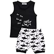 Baby Boy Girl T-Shirt Clothes Shark and Doo Doo Print Summer Cotton Sleeveless Outfits Set Tops and Short Pants (12-18 Months)