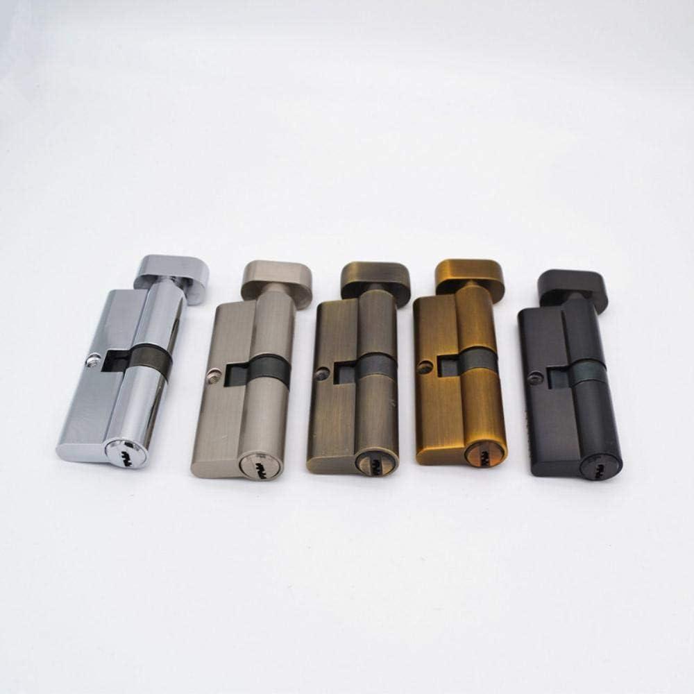 Finer 70mm Cylindre de Serrure de Porte en Laiton chrom/é avec 3 cl/és dordinateur en Laiton Cylindre de s/écurit/é Anti-vol avec Boutons 70mm Noir Perle