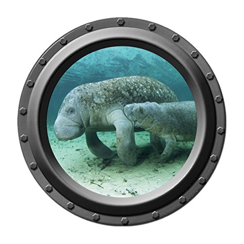 I Love Referrals Stickers (Mom and Baby Manatee - Porthole Wall Decal)