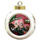 Home of Cockapoo 4 Dogs Playing Poker Round Ball Christmas Ornament