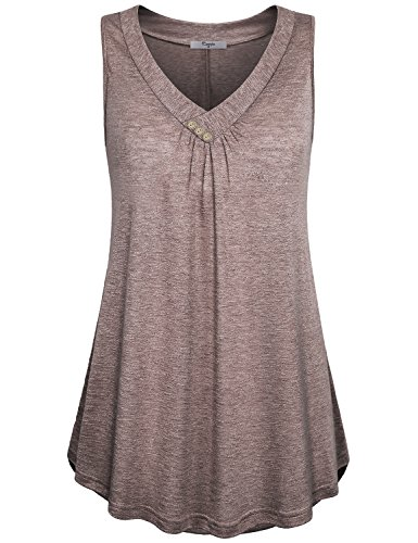 Cestyle Tops for Women, Summer Juniors V Neck Sleeveless Buttons Pleated Front Basic Plain Tee Shirt Tank Shirts for Leggings Brown XX-Large