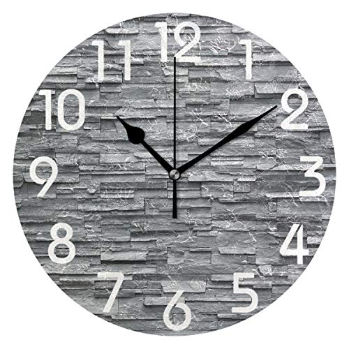 Naanle Chic 3D Black Slate Stone Wall Print Round Wall Clock Decorative, 9.5 Inch Battery Operated Quartz Analog Quiet Desk Clock for Home,Office,School