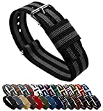 BARTON Watch Bands - Choice of Color Length and Width (18mm 20mm 22mm or 24mm) - Black Smoke (Bond) 18mm - Standard Length