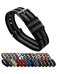 BARTON Watch Bands - Choice of Color, Length & Width (18mm, 20mm, 22mm or 24mm) - Black/Smoke (James Bond) 22mm Width