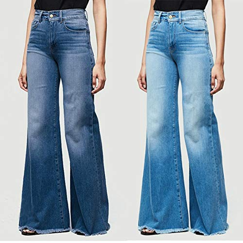 Amazon.com: UZZE pantalones vaqueros de pierna ancha para ...