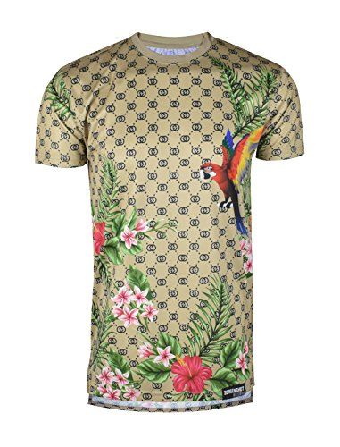 SCREENSHOTBRAND-753 Mens Hipster Hip-Hop Premium Tees - Stylish Longline Fashion T-Shirt Color Forest - Khaki - Large
