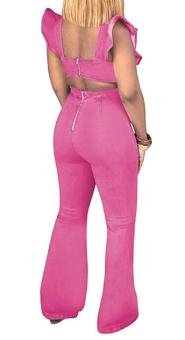 Jotebriyo Womens Bell-Bottom Flare Pants Sleeveless Slim Fit Bodycon Denim Ruffle Backless Jumpsuit Romper