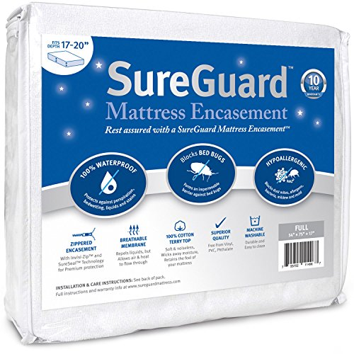 Full (17-20 in. Deep) SureGuard Mattress Encasement - 100% Waterproof, Bed Bug Proof, Hypoallergenic - Premium Zippered Six-Sided Cover - 10 Year Warranty