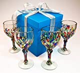 Hand blown wine glasses, confetti bottom with gift box, from Mexico, 14 oz, set of 4