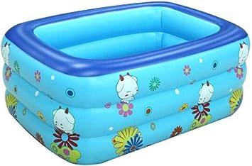 Protección del Medio Ambiente 130 * 85 * 55 Niños Piscina Inflable Familia 3 Capas Baby Shower remando Rectangular Interior y Exterior Piscinas para niños Adultos: Amazon.es: Jardín