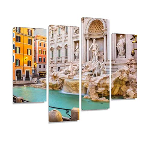 View on The Trevi Fountain in Rome, Italy Canvas Wall Art Hanging Paintings Modern Artwork Abstract Picture Prints Home Decoration Gift Unique Designed Framed 4 Panel