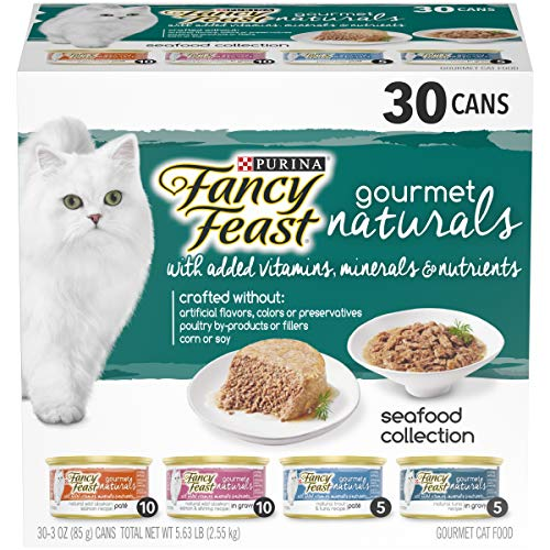 Purina Fancy Feast Natural Wet Cat Food Variety Pack; Gourmet Naturals Seafood Collection - (30) 3 oz. - Natural Fancy