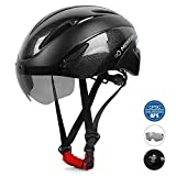 MOKFIRE Adults Bike Helmet CPSC & CE.EN1078 Certified with Removable Magnetic Shield Visor, Adjustable Mountain & Road Bicycle Helmet for Adult Men/Women Size 22.44-24.41 Inches (Black)