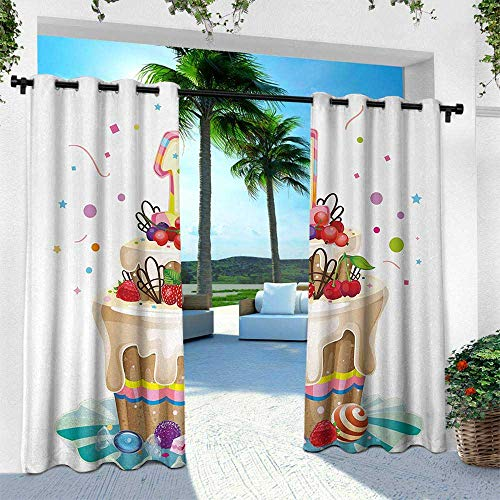 Hengshu 1st Birthday, Outdoor Curtain Waterproof Rustproof Grommet Drape,Baby First Party Festive Cake with Forest Fruits and Candlestick Image Print, W96 x L108 Inch, Multicolor