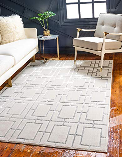 Unique Loom Marilyn Monroe Glam Collection Textured Geometric Trellis White Silver Area Rug (9' 0 x 12' 0)