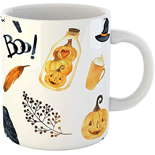 Coffee Tea Mug Gift 11 Ounces Funny White Ceramic Watercolor Helloween Thanksgiving Halloween Recipe Holiday Pumpkin Crows Gifts For Family Friends Coworkers Boss Mug -