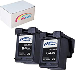 INKMATE Re-Manufactured Ink Cartridge Replacement for HP 64XL for N9J92AN Envy 6255 7155 7855 2BK 2Pack (2Black)