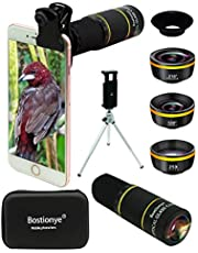 Phone Camera Lens Kit 4 in 1 for iPhone Samsung Pixel One Plus Huawei, 22X Telephoto Lens, 120° Super Wide Angle Lens&25X Macro Lens, 210° Fisheye Lens, Phone Holder+Tripod+Eyecup,for Most Smartphone (Golden)