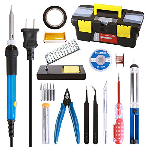 Tabiger Soldering Iron Kit for Electronics, 16-in-1, 60W Adjustable Temperature Soldering Iron, 5pcs Tips, Solder, Rosin, Solder Wick, Stand and Other Soldering Kits in Portable Tool Case