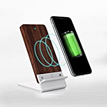 Wood Wireless Charger for Microsoft Lumia 735/830/920/928/930/950/XL/1520 - [Fast Charge] Cooper ECOSTAND Wireless Charging Stand | Qi Wireless Charger Stand | Desk, Office (Aluminium & Rosewood)