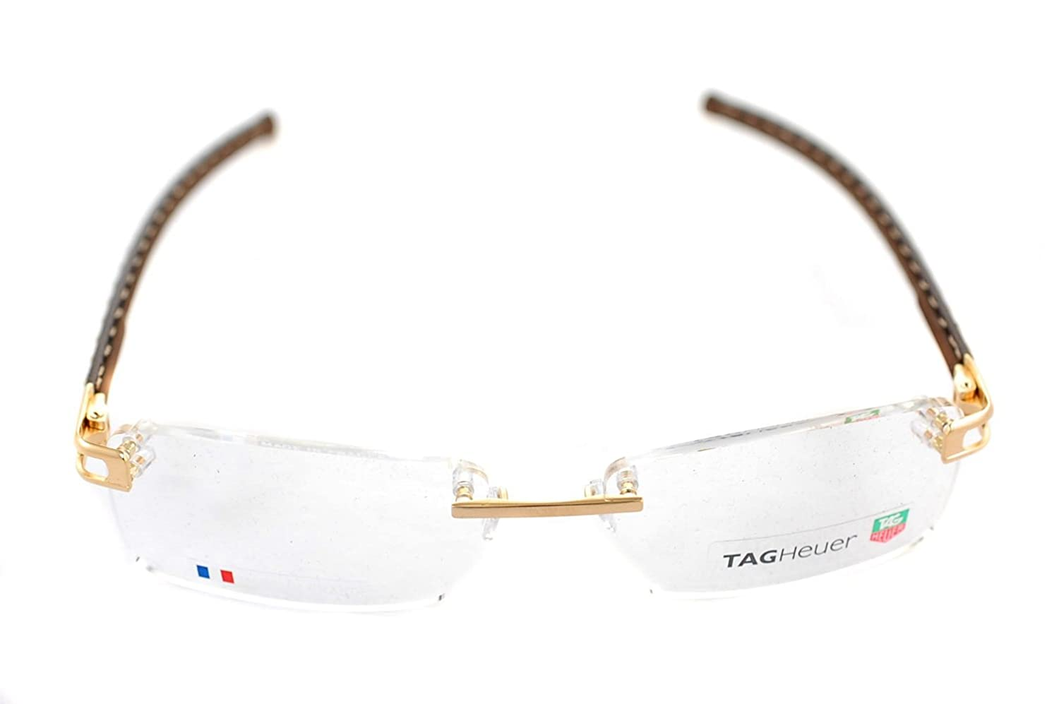 dbff25a2602 Tag Heuer Calfskin TH0153 003 58 mm L-TYPE Handmade Gold Brown Frame  Eyeglasses Rimless  Amazon.co.uk  Clothing