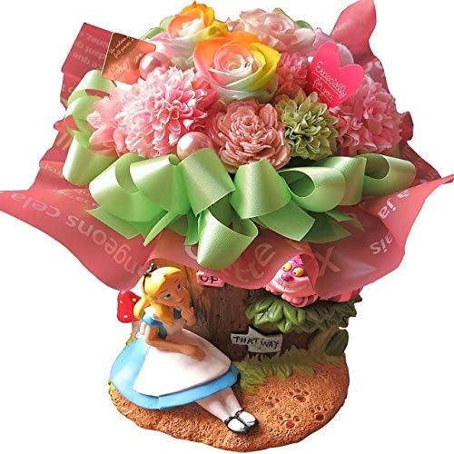 不思議の国のアリス アリス チシャ猫 プランター 花束風 レインボーローズ プリザーブドフラワー入りギフト ケース付き