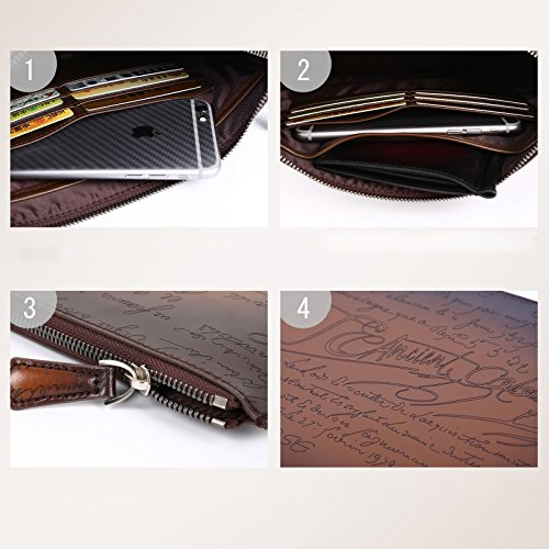 TERSE Envelope Card Capacity Men's Cash Leather Wallet With Bag Clutch Large Purse Claret Wrist Italian Holder Calfskin Yw4wqPxrT