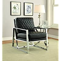 Coaster Home Furnishings 900622 Accent Chair, NULL, Black/Chrome