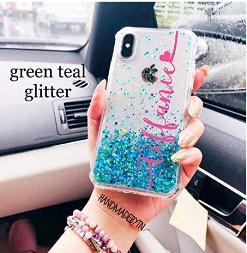 Personalized turquoise teal green holographic glitter Samsung galaxy Note 8 case, Note 9 case, S9 Plus case, S9 case, iphone xs max case, iphone xs case, iphone xr case