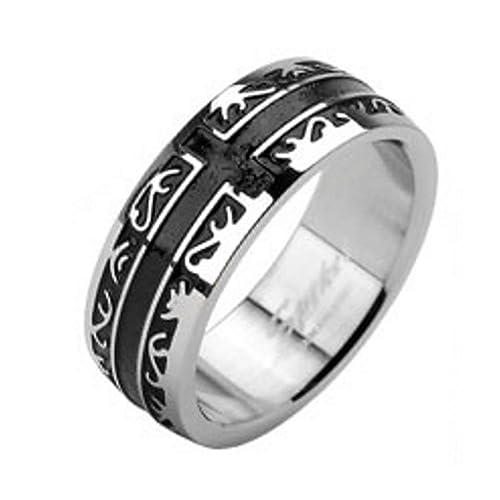 Anillo con Cruz Negra, Tribal y filigrana Diseño de acero inoxidable (Mujer Finger Ring