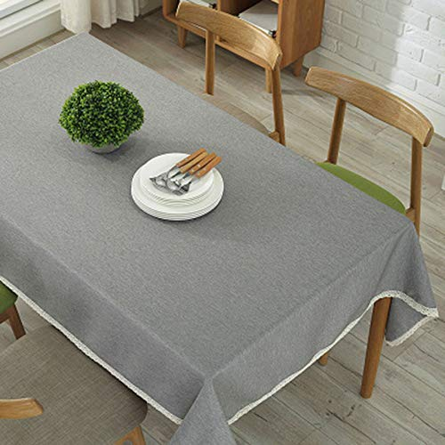 (DAPENG Rectangular Tablecloth, Solid Color Cotton and Linen Thickening Restaurant Conference Tablecloth (Color : Gray, Size : 55