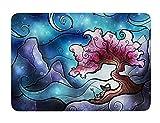 KESS InHouse Mandie Manzano ''Sea Dance'' Blue Orange Memory Foam Bath Mat, 17 by 24-Inch, 17'' X 24''''