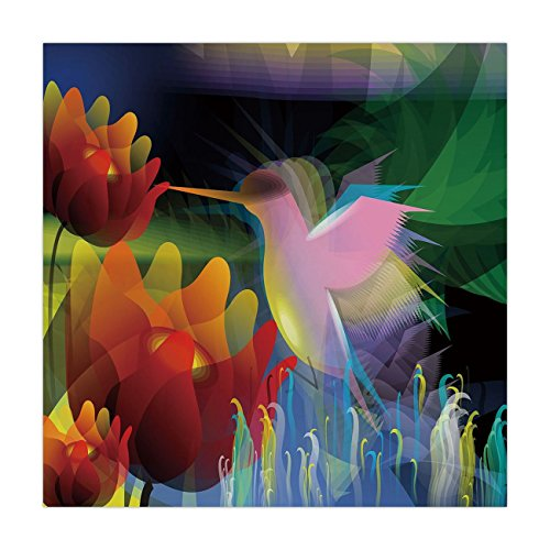 - iPrint Satin Square Tablecloth,Art,Fantasy Digital Paint with A Bird Swallows Honey from Flower Stock Fractal Artwork Decorative,Multicolor,Dining Room Kitchen Table Cloth Cover