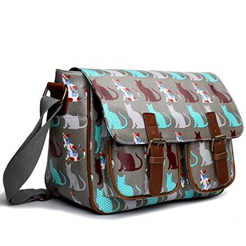 Miss LuLu Wachstuch Tasche Umhängetasche Schultasche mit vielen Drucken in vielen Farben (O-BG) CT-GY