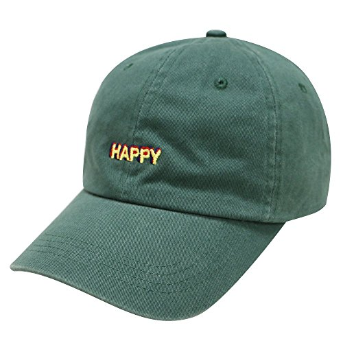 City Hunter C104 Happy Small Embroidered Cotton Baseball Caps 12 Colors  (Hunter Green)