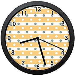 Akalidebaih Horizontal Bold Stripes with Polka Dots Old Fashioned Tile-Decorative Wall Clock,10inch-The Best Gift