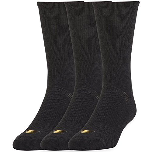 PowerSox Mens Coolmax Crew Socks:Two 3 Packs, 6 Pairs total, Black, Large, Fits shoe size 9-12 1/2