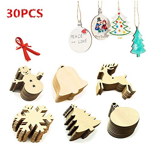 LEWOTE Wooden Ornaments 30Pcs[Unfinished], Craft Predrilled Wood Slice