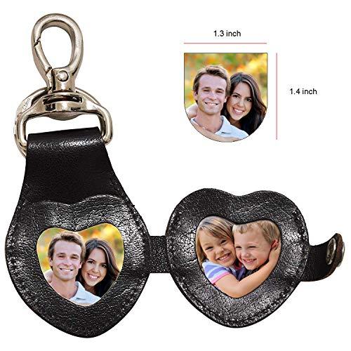 WISE OWL 3D Leather Keychain Cute Heart shape goodluck charm Leather Keyring Handbag Purse Charm Key Ring (heart-photoframe) one size Black Buff V.T