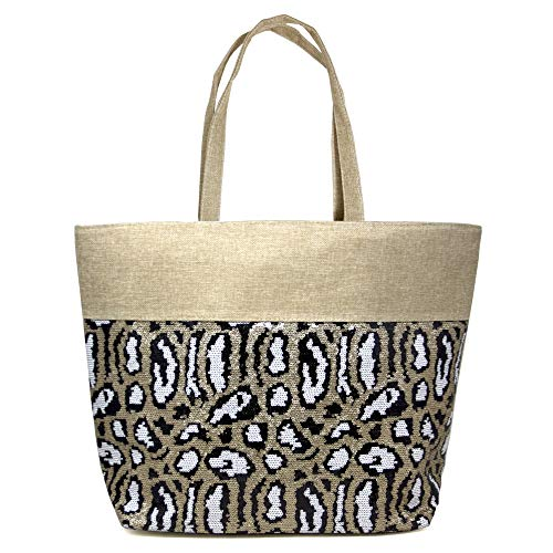 - Me Plus Sequin Animal Printed Large Tote Shoulder Beach Bag with Zipper Closure Top Handle (Sequin Animal Print - White)