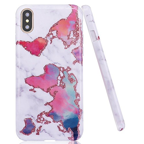 DOUJIAZ iPhone XS Case,iPhone X Case, World Map Marble Design Clear Bumper TPU Soft Case Rubber Silicone Skin Cover for iPhone X (2017)/ XS (2018) 5.8 inch from DOUJIAZ
