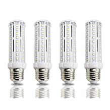 Lamsky 4-Pack Tubular LED Corn Light Bulb 10W Daylight 6000K E26 E27 Medium Screw Base 100-Watt Incandescent Replacement Lamp